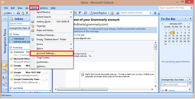 Outlook Settings Might Not Be Configured Properly 1