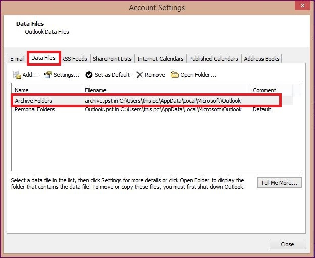 Remove imported PST file from your Outlook Account 2