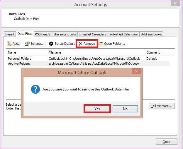 Remove imported PST file from your Outlook Account 3