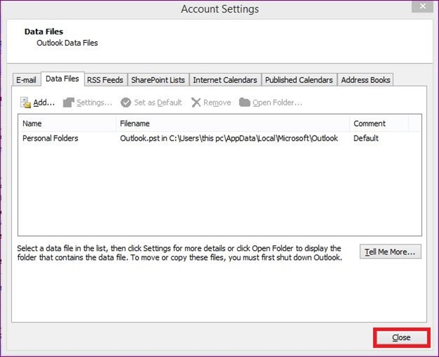 Remove imported PST file from your Outlook Account 4