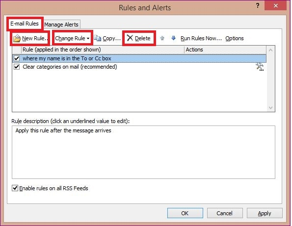 The rules in MS Outlook 1