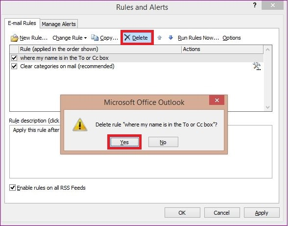 The rules in MS Outlook 2