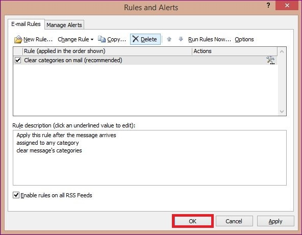 The rules in MS Outlook 3
