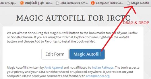 Using Magic AutoFill For IRCTC